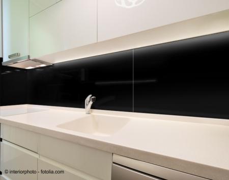 110x60cm Glas schwarz - Echtglas Küchenrückwand Spritzschutz Fliesenspiegel  Glasplatte Rückwand