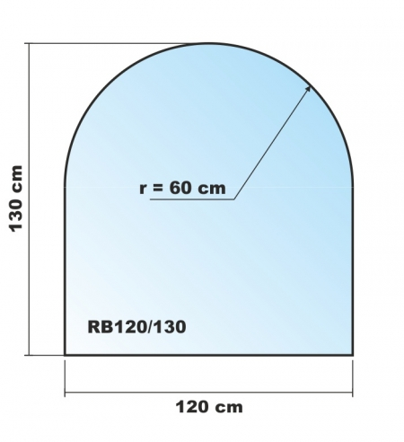 rundbogen 120x130cm funkenschutzplatte kaminbodenplatte glasplatte. Black Bedroom Furniture Sets. Home Design Ideas