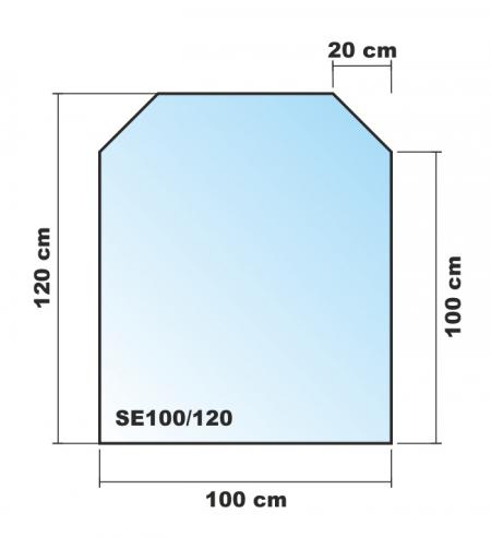 sechseck 100x120cm glas schwarz funkenschutzplatte kaminbodenplatte. Black Bedroom Furniture Sets. Home Design Ideas