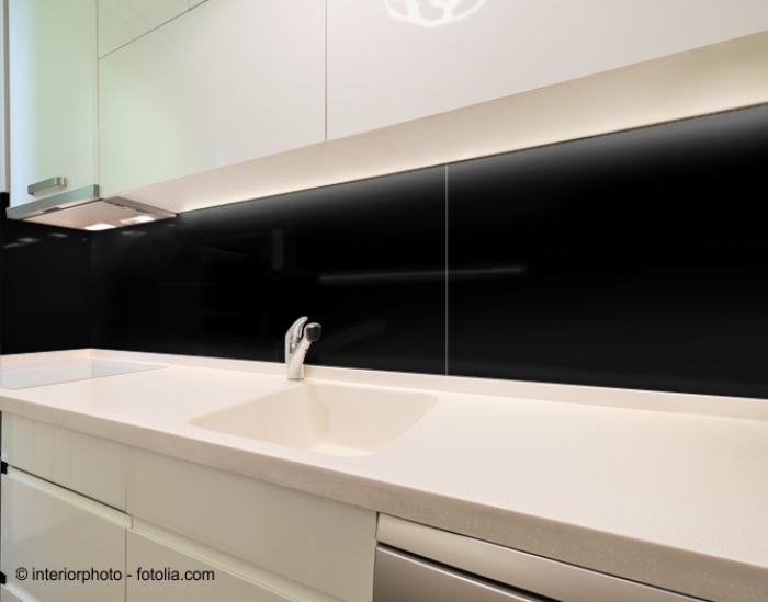 100x55cm glas schwarz echtglas k chenr ckwand spritzschutz. Black Bedroom Furniture Sets. Home Design Ideas